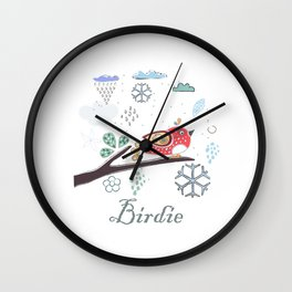 Cute Winter Icon with a birdie. Hand Drawn Scandinavian Style Wall Clock