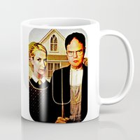 dwight schrute Mugs featuring Dwight Schrute & Angela Martin (The Office: American Gothic) by Silvio Ledbetter