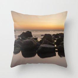 Rocky Ocean Sunrise Throw Pillow