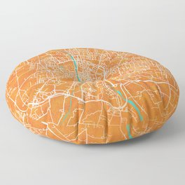 Parma, Italy, Gold, Blue, City, Map Floor Pillow