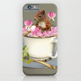Coffee Cup with Squirrel & Frog pink Lotus Flowers iPhone Case