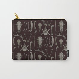 Animal Bones Anatomical Illustration on Dark Red Carry-All Pouch