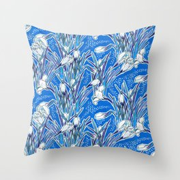 White Crocuses, Spring Flowers, Botanical Floral Pattern, Mariner Blue Throw Pillow