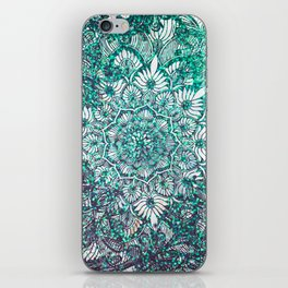 Teal Faux Glitter and Lace Ornamental Floral Mandala iPhone Skin