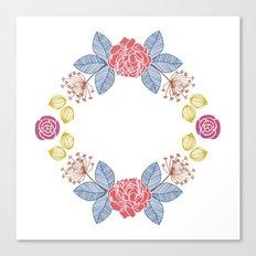 Hand Drawn Floral Wreath Design Canvas Print