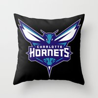 nba Throw Pillows featuring NBA - Hornets by Katieb1013