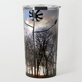 METAL FLOWER SCULPTURE DANCING IN THE SHADOWS Travel Mug