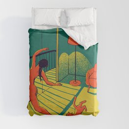 Dancing with the cat | Moody sunset light and shadows Aesthetic Green room Naked dance Femme Fatale  Duvet Cover