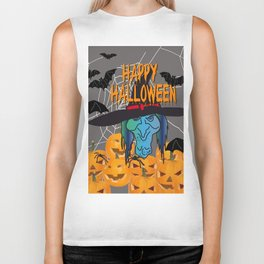 Bats & Witch Happy Halloween Biker Tank