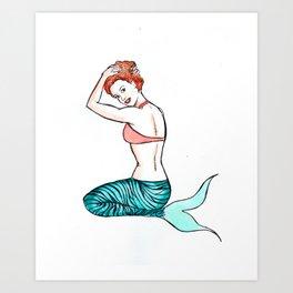 Tiger Mermaid Art Print