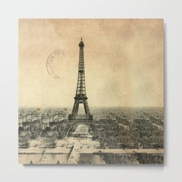 Rare vintage postcard with Eiffel Tower in Paris Metal Print