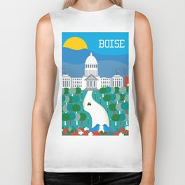 Boise, Idaho - Skyline Illustration by Loose Petals Biker Tank