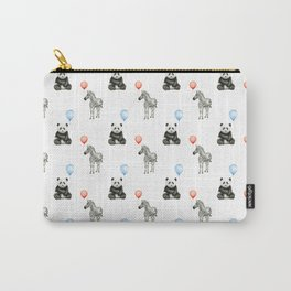 Panda and Zebra Balloons Pattern, Baby Animals Birthday Pattern Carry-All Pouch