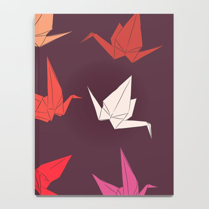 Japanese Origami Paper Cranes Sketch Symbol Of Happiness Luck And