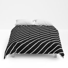 Hot 80s Style Diagonal Black and White Geometric Pattern Comforters
