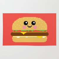 hamburger Area & Throw Rugs featuring Happy Pixel Hamburger by Mouki K. Butt