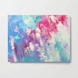 Pink and Blue Abstract Metal Print