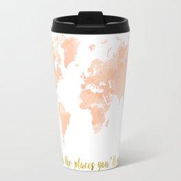 World Map Peach Travel Mug