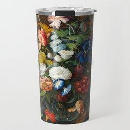Flower Still Life with Bird's Nest, 1853 Travel Mug
