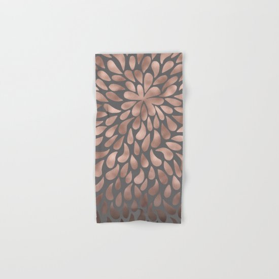 Rosegold- abstract floral elegant pattern on grey Hand & Bath Towel