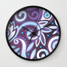 Summer leaves, purple Wall Clock