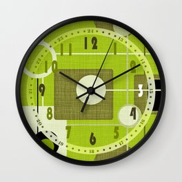 orbs and squares acid green Wall Clock