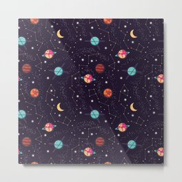 Universe with planets and stars seamless pattern, cosmos starry night sky 004 Metal Print
