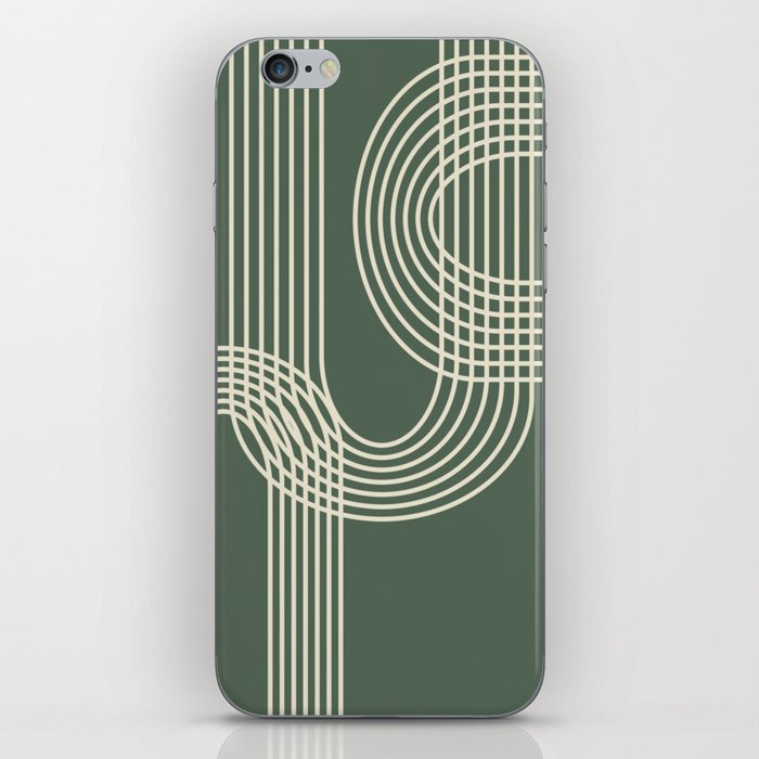 Minimalist Lines in Forest Green iPhone Skin