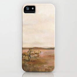Mustangs Under Big Sky Warm - Horse Colorful iPhone Case