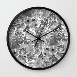 Black and White Watercolor Bouquet Wall Clock