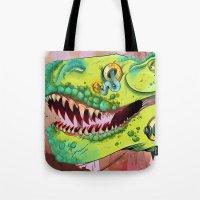 sci fi Tote Bags featuring Sci-fi Dinosaur. by Rachel Alderson