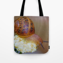 Snail on a Flower Tote Bag