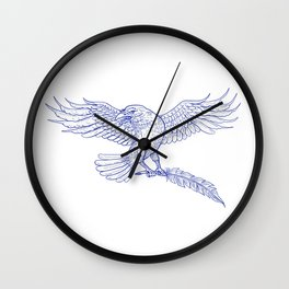 Raven Carrying Quill Drawing Wall Clock