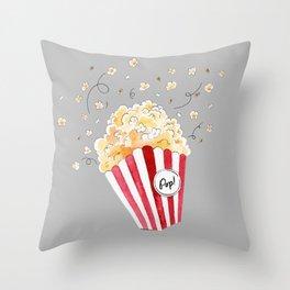 crazy popcorn Throw Pillow
