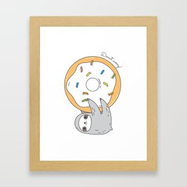 Donut worry Sloth Framed Art Print