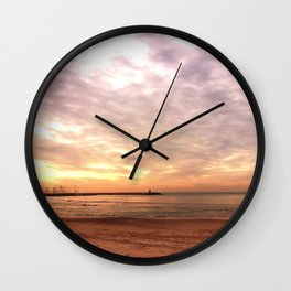 Sunset on the Harbor Wall Clock