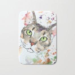 Cat Watercolor Painting Design Bath Mat