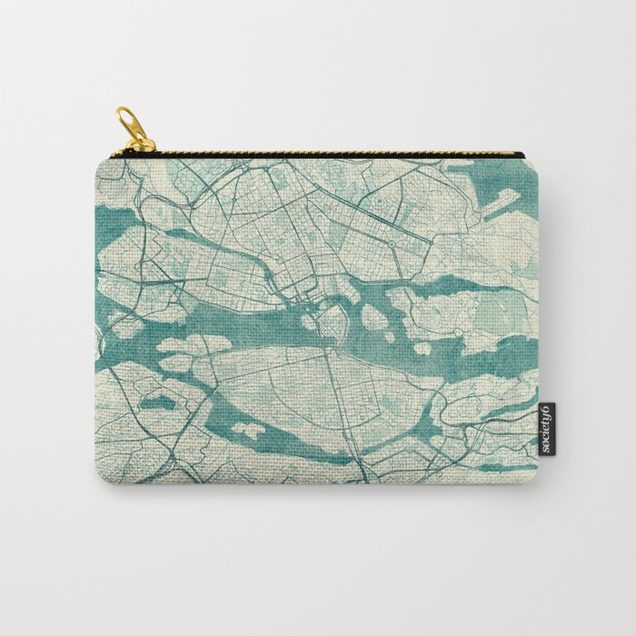 Stockholm Map Blue Vintage Carry-All Pouch