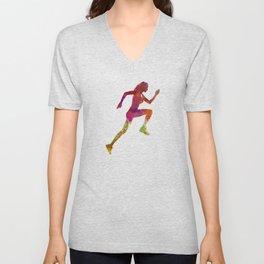 Woman runner running jogger jogging silhouette 02 Unisex V-Neck
