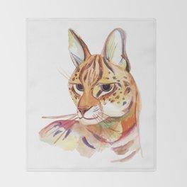 Serval wild cat watercolor Throw Blanket