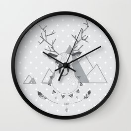 Geo Deer Gray Wall Clock