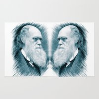 darwin Area & Throw Rugs featuring Charles Darwin by Zandonai