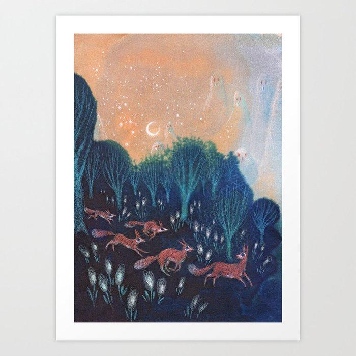 Night of the Foxes Kunstdrucke