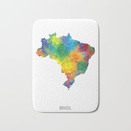 Brasil Watercolor Map Bath Mat
