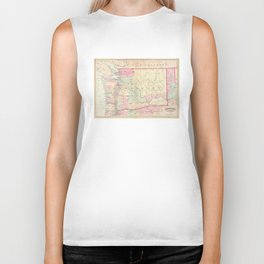 Vintage Map of Washington State (1874) Biker Tank