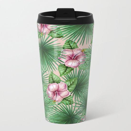 Jungle Love, Palm Leaves And Hibiscus Pink Metal Travel Mug