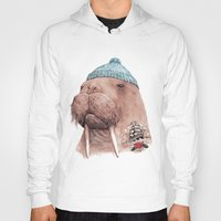walrus Hoodies featuring Tattooed Walrus by Animal Crew