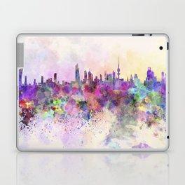 Kuwait City skyline in watercolor background Laptop & iPad Skin
