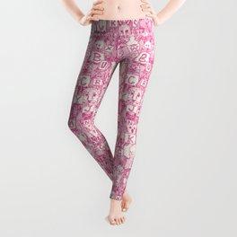 animal ABC pink ivory Leggings
