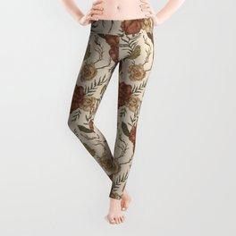 Antique Floral Pattern Leggings